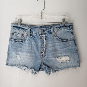 NEW Levi's 501 cutoff button fly blue jean shorts